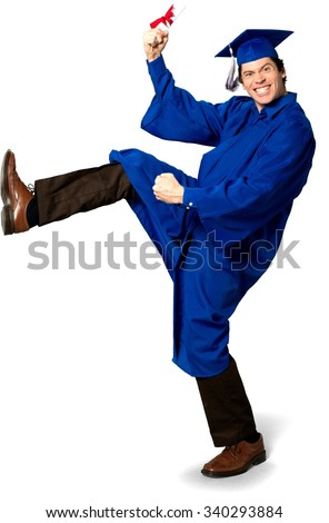 Excited Caucasian man with short dark brown hair in uniform holding diploma - Isolated - stock photo