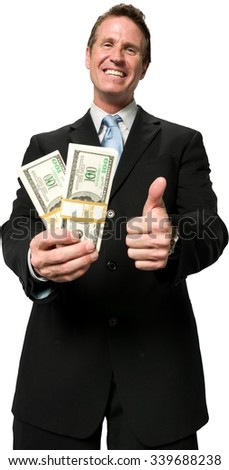 Excited Caucasian man with short medium blond hair in business formal outfit holding money - Isolated
