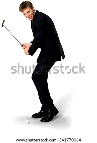 Excited Caucasian man with short medium blond hair in business formal outfit using prop - Isolated