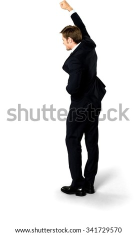 Excited Caucasian man with short medium blond hair in business formal outfit with hands on stomach - Isolated - stock photo