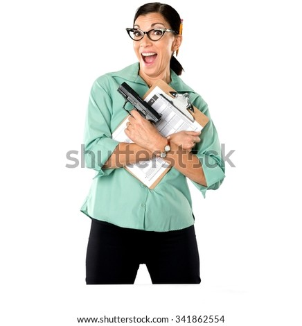 Excited Caucasian woman dark brown in business casual outfit holding handgun - Isolated