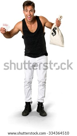 Excited Caucasian young man with short medium brown hair in casual outfit holding money bag - Isolated - stock photo