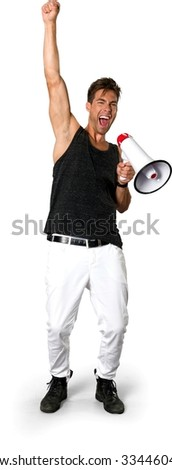 Excited Caucasian young man with short medium brown hair in casual outfit using megaphone - Isolated - stock photo