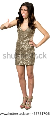 Excited Caucasian young woman with long dark brown hair in evening outfit cheering - Isolated - stock photo