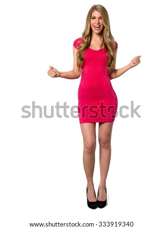 Excited Caucasian young woman with long light blond hair in evening outfit with arms open - Isolated - stock photo