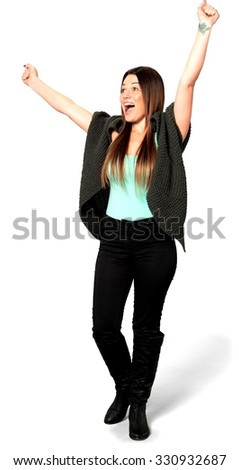 Excited Caucasian young woman with long medium brown hair in casual outfit with arms open - Isolated