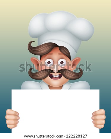 excited chief cook holding blank card, restaurant menu template, cartoon character illustration