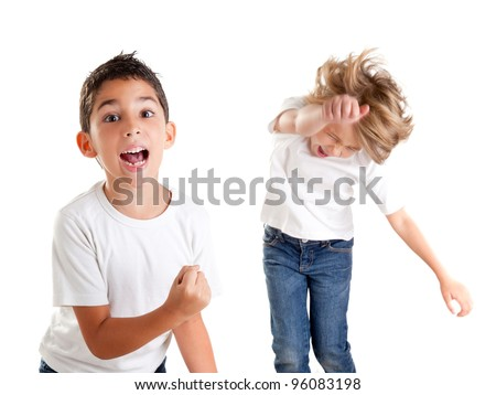 excited children kids happy screaming and winner gesture expression on white - stock photo