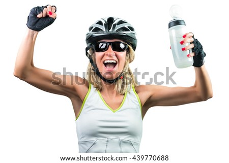 Excited cyclist enjoying the win. Concept Winning in sports. Isolated on white background - stock photo