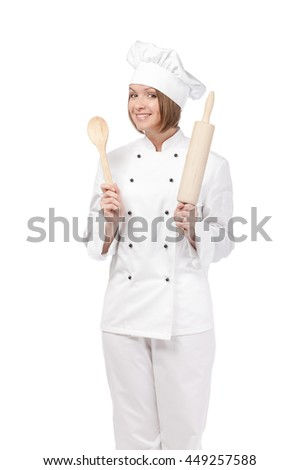 excited female chef, cook or baker with spoon and rolling pin isolated on white background. cooking food concept