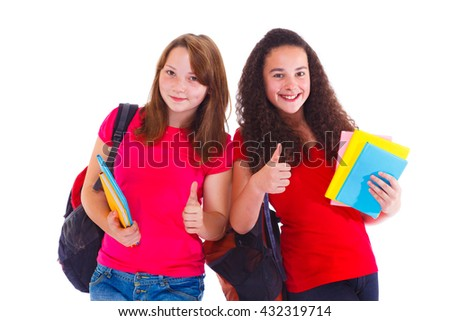 Excited female students with thumb up
