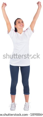 Excited football fan in white cheering on white background - stock photo