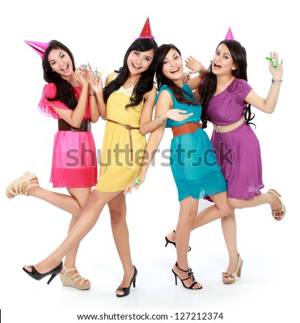 excited four young beautiful girls celebrate birthday isolated over white background