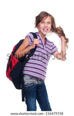excited girl holding rucksack and standing against white background - stock photo