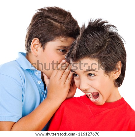 Excited gossip boys isolated on white background, best friends whispering about some secret, brunette kid listening news with open mouth, children talking and expressing surprise, teens play games - stock photo