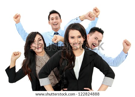 Excited group of business people isolated over white background - stock photo