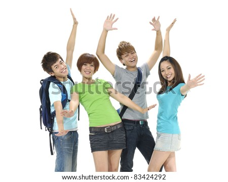 Excited group of people with arms up isolated - stock photo