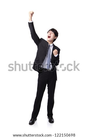 Excited handsome business man with arms raised in success in full length Isolated on white background, mode is a asian people - stock photo