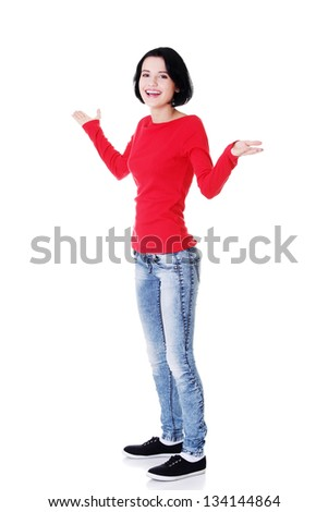 Excited happy young woman with hands up, isolated - stock photo