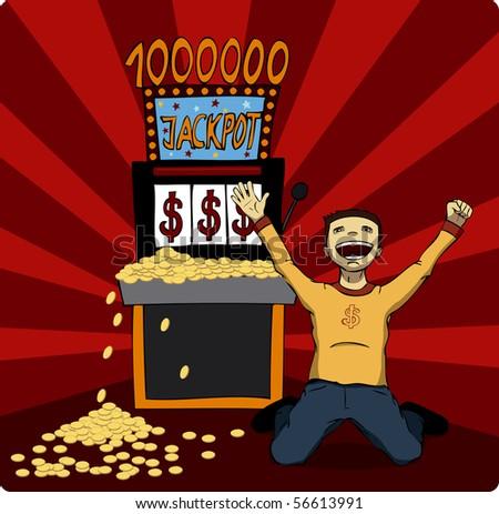 Excited man at slot machine. - stock photo