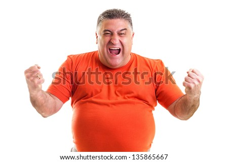 Excited  man celebrating success with hands raised against white background