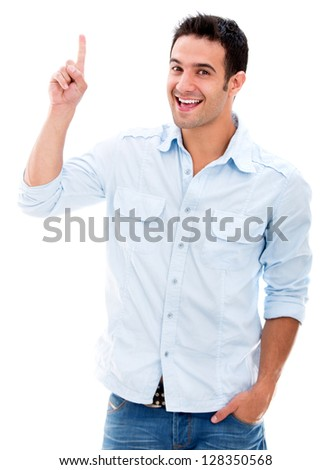 Excited man pointing a great idea - isolated over a white background - stock photo