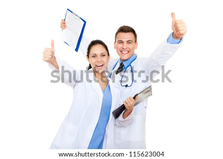 excited medical team doctor man and woman happy smile, holding raised hands arms with thumb up gesture, isolated over white background - stock photo