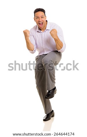 excited middle aged man waving fists on white background - stock photo