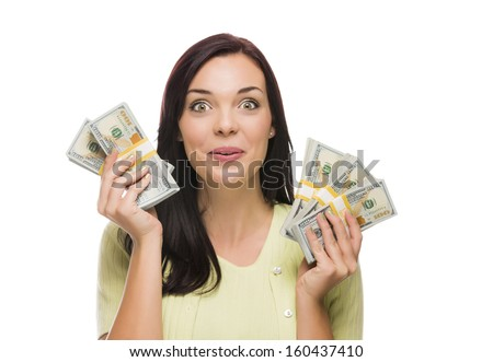 Excited Mixed Race Woman Holding the Newly Designed United States One Hundred Dollar Bills Isolated on a White Background. - stock photo