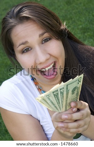 Excited Money Girl