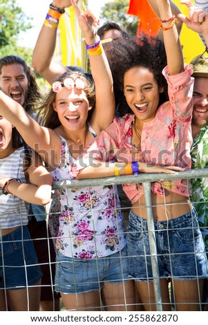 Excited music fans up the front at festival on a summers day - stock photo