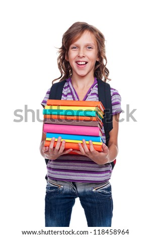 excited pupil holding some books. isolated on white background - stock photo