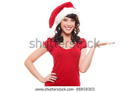 excited santa girl presenting something on open hand palm. isolated on white background - stock photo