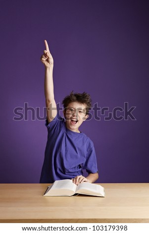 Excited School Boy - stock photo