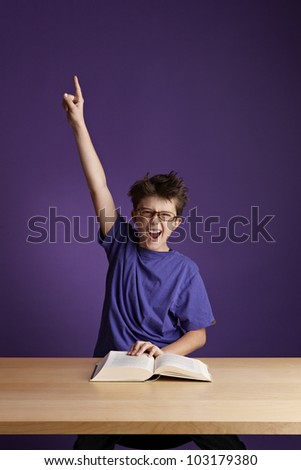 Excited School Boy With Glasses - stock photo