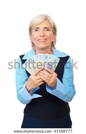 Excited senior executive woman holding and showing Romanian banknotes isolated on white background - stock photo