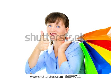 Excited sexy woman with shopping bags - stock photo
