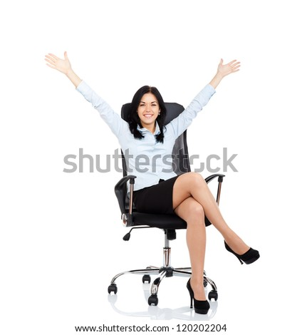 excited smile business woman sitting in chair hold hands up raised arms, isolated over white background, Winner businesswoman with success
