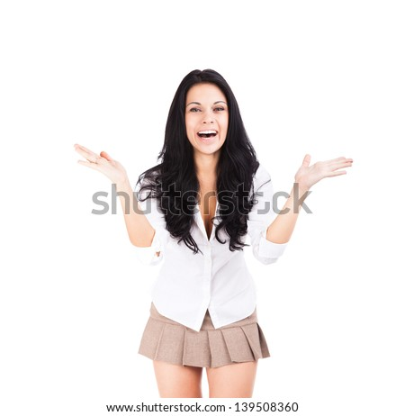 excited smile sexy woman raised up palms hands, young pretty girl wear short skirt, isolated over white background concept happy student, freedom - stock photo