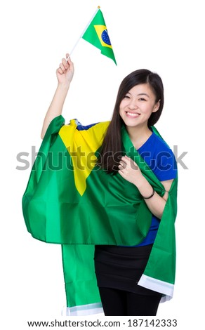 Excited soccer fans with Brazil flag