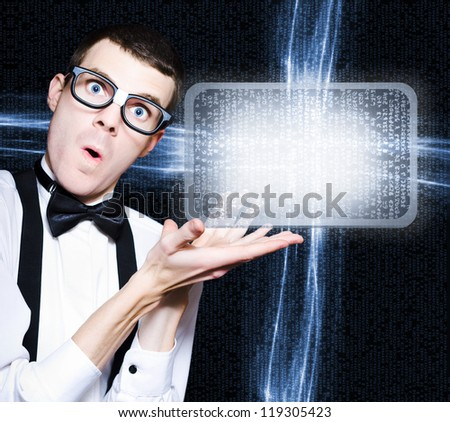 Excited Technology Smart Man Advertising Electronic Products And Programs On A Blank Digital Screen