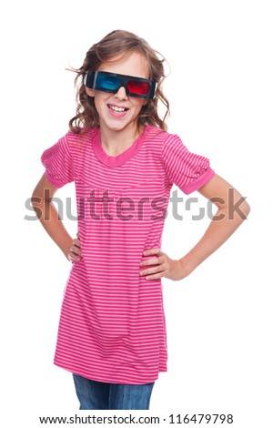 excited ten year girl in stereo glasses standing over white background - stock photo