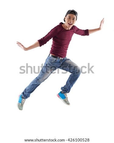 Excited Vietnamese young man, isolated on white - stock photo