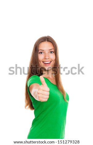 excited woman happy smile show thumb up gesture at you, young girl wear green shirt, isolated over white background - stock photo