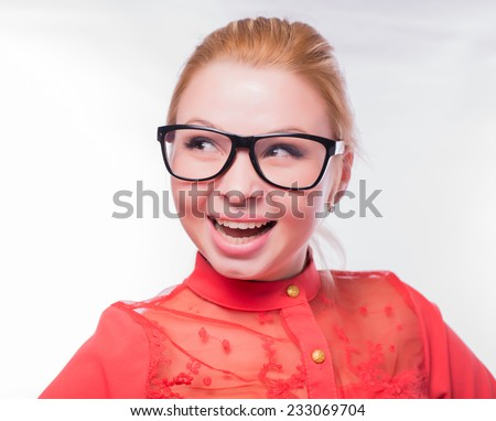 Excited woman looking sideways screaming of joy. Closeup of happy mixed race Asian Chinese / Caucasian female business woman isolated on white background. - stock photo