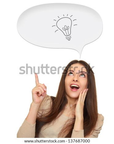 Excited woman showing hand on idea bulb in speech bubble space isolated on white background
