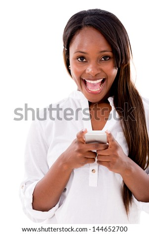 Excited woman texting on her phone - isolated over white background - stock photo