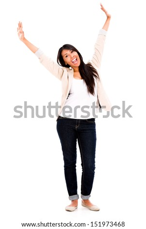 Excited woman with arms up - isolated over a white background