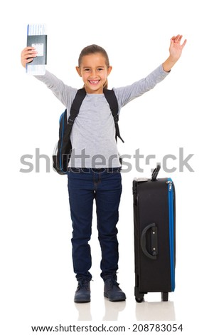 excited young girl holding boarding pass isolated on white - stock photo