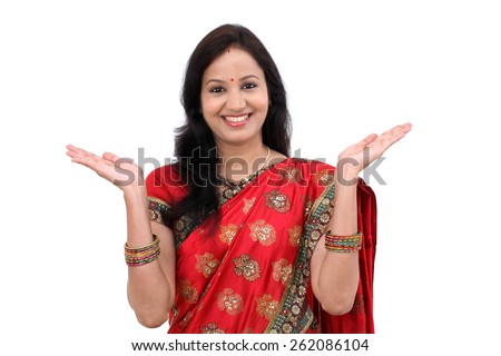 Excited young traditional Indian woman - stock photo